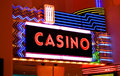 Casino neon lights Stock Photos