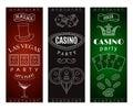 Casino party invitation with decorative elements. Gambling symbols.