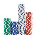 Casino playing chips stacks isolated over white background Royalty Free Stock Photo