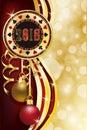 Casino poker christmas chip, new 2018 year