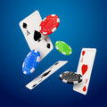 Casino poker design template. Falling poker cards and chips game concept. Royalty Free Stock Photo