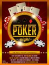 Casino poker tournament invitation design. Gold text with playing chip and cards.