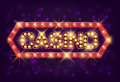 Casino poster vintage style. Casino banner with glowing lamps for online casino, poker, roulette, slot machines, card