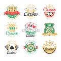 Casino premium logo design, set of colorful gambling emblems, labels, badges, vector Illustrations Royalty Free Stock Photo