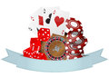 Casino ribbon illustration of object with blank Stock Photos
