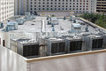 Casino rooftop showing cooling towers and air conditioners Stock Photos