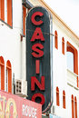 Casino sign an old black and red reading Stock Image