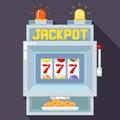 Casino slot gambling machine. Vector UI game template Royalty Free Stock Photo
