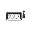 Casino slot machine flat vector icon. 777 jackpot illustration p