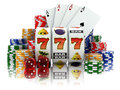 Casino slot machine with jackpot dice cards and chips d Stock Image