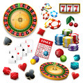 Casino symbols set composition poster Royalty Free Stock Photo