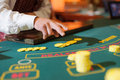 Casino table with yellow chips Stock Image
