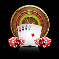 Casino Vector Background with Roulette Wheel Royalty Free Stock Photo