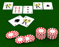 Casion chips and playing cards Royalty Free Stock Image
