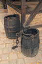 Cask barrels with chain on sett Royalty Free Stock Photo
