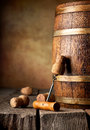 Cask and corkscrew wooden with corks on a table Royalty Free Stock Images
