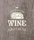 Cask of wine vector label for on the background wooden boards Royalty Free Stock Photos