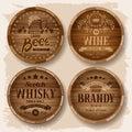 Casks with alcohol drinks set of wooden barrels emblems vector illustration Stock Images