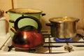 Casserole et chauffe eau Photographie stock