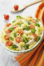 Casserole pasta with chicken and broccoli on the table Royalty Free Stock Photography