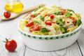 Casserole pasta with chicken and broccoli on the table Royalty Free Stock Photo
