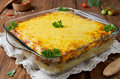 Casserole with pasta and minced meat under a cheese crust Royalty Free Stock Photo