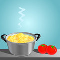 Casserole with potatoes on the table vector illus along tomatoes illustration Royalty Free Stock Image