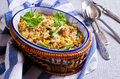 Casserole with rice vegetables and minced meat selective focus Royalty Free Stock Images