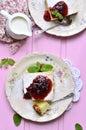 Casseruola della ricotta con i frutti secchi Fotografia Stock