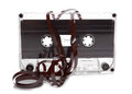 Cassette audio with tape tangle on white background Stock Image