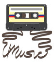 Cassette with Music on Tape Royalty Free Stock Images