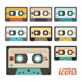 Cassette set of retro tape icons Royalty Free Stock Photo