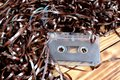 Retro cassette for tape recorder with unwound film Royalty Free Stock Photo
