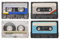 Cassette tapes four retro isolated on white Stock Photos