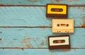 Cassette Tapes Over Blue Textu...