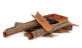 Cassia bark cinnamon spice over white background also used in chinese herbal medicine Stock Image