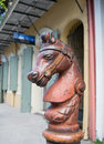 Cast iron horse hitching post in new orleans these heads are part of historic worn from years and weather this one stands firm at Stock Photography