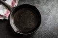 Cast iron pan on black Royalty Free Stock Photo
