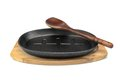 Cast Iron Serving Pan On Wood Plate, Spatula White Isolated Royalty Free Stock Photo