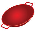 Cast iron wok classic red vector illustration Stock Photo
