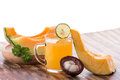 Castalope fruit, Melon, and mangosteen juice Royalty Free Stock Photo