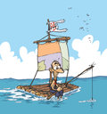 Castaway on a raft cartoon illustration of lonely Royalty Free Stock Images