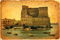Castel dell ovo naples italy egg castle a medieval fortress in the bay of Stock Image