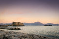 Castel dell ovo naples italy view of in an ancient fortress on the sea at dusk Stock Photo