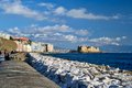 Castel dell ovo naples view of and seaside Royalty Free Stock Images