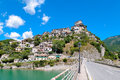 Castel di tora view of on lake turano in italy Royalty Free Stock Images