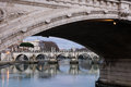 Castel SantAngelo and Angels bridge at Rome - Italy Royalty Free Stock Photo
