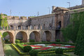 Castell de montjuic barcelona the entrance stone bridge with its arches castle catalunia spain Stock Photos