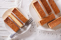 Castella Japanese cake on a plate closeup. horizontal view from Royalty Free Stock Photo