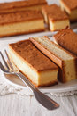 Castella Japanese cake on a plate closeup. Vertical Royalty Free Stock Photo